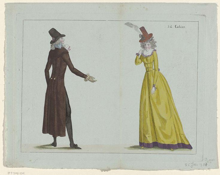 Journal de la Mode et du Goût, 25 janvier 1791, 34e cahier, pl. 1 en 2, M. Le Brun, 1791