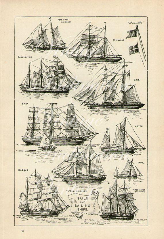 Grabado antiguo, veleros velas, gráfico 1907 hermosa pared arte blanco y negro vintage litografia ilustración barcos barco velas náuticas