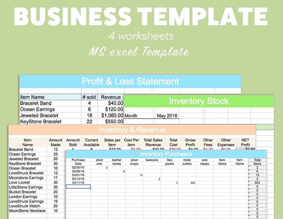 BUSINESS EXCEL Template Profit Loss Inventory Expense by Pixel26
