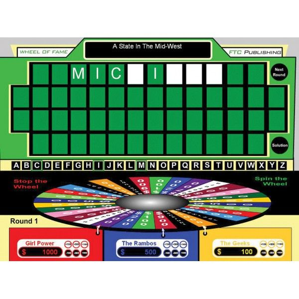 "Wheel of Fame for interactive whiteboards creates customizable ""Wheel of Fortune"" style games for your classroom"
