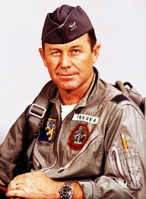 Chuck Yeager, the first man to break the sound barrier, wearing his Rolex Submariner.