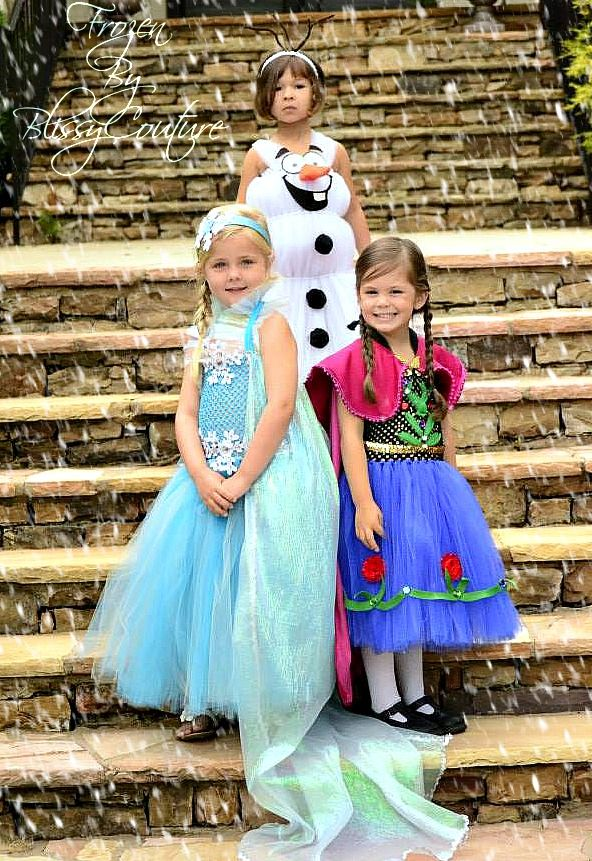 Frozen Inspired Elsa Anna Olaf Tutu Dresses Halloween Costume by www.BlissyCouture.net