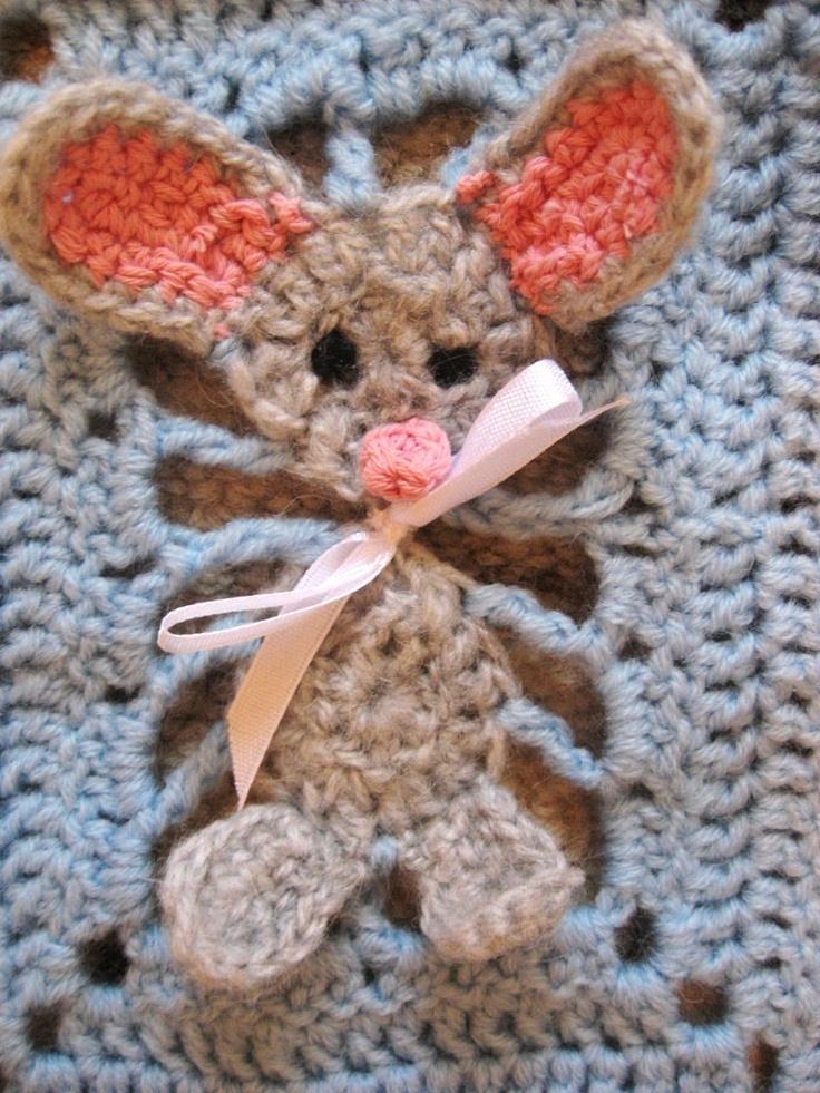 """Handmade crochet blanket """"My little mouse""""."""