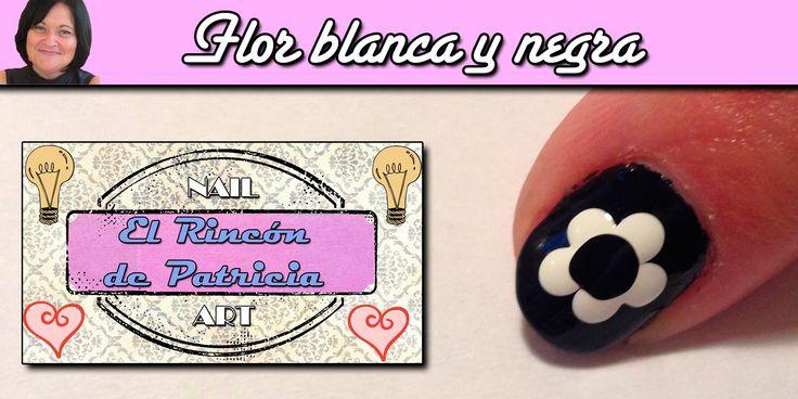 Diseño de uñas flor blanco y negro combinado- El rincón de Patri- Black and…