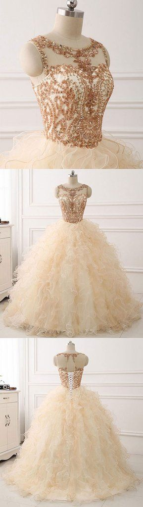 Champagne round neck tulle long prom gown ,champagne evening dress