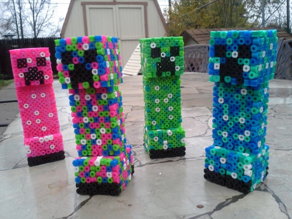 3d Perler Minecraft Creeper by VixianLove on Etsy, $11.00