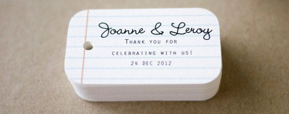 colorful, custom favor tags by SmilingTag have you covered. These cute little tags include everything from school-themed loose-leaf tags to bunting with 'Thank You' or 'Handmade with Love' inscribed