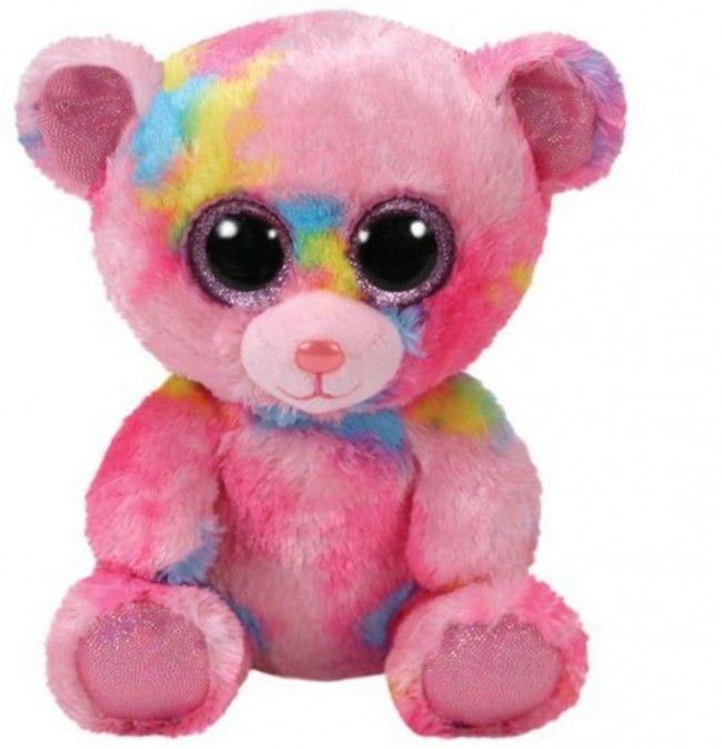 Ty beanie boos franky ours rose multicolore castello jeux et jouets toys toutou gros - Jeux de toutou a gros yeux ...