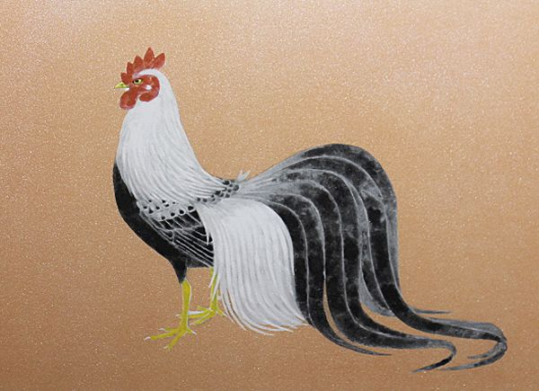 'Rooster' lithograph by Atsushi UEMURA