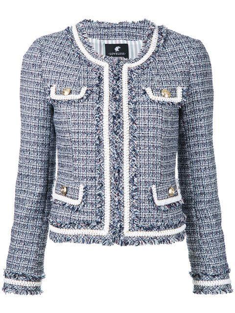 Shop Loveless cropped tweed jacket.