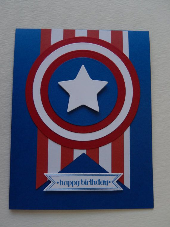 Captain America Birthday Card by GreetingsfromDiana on Etsy