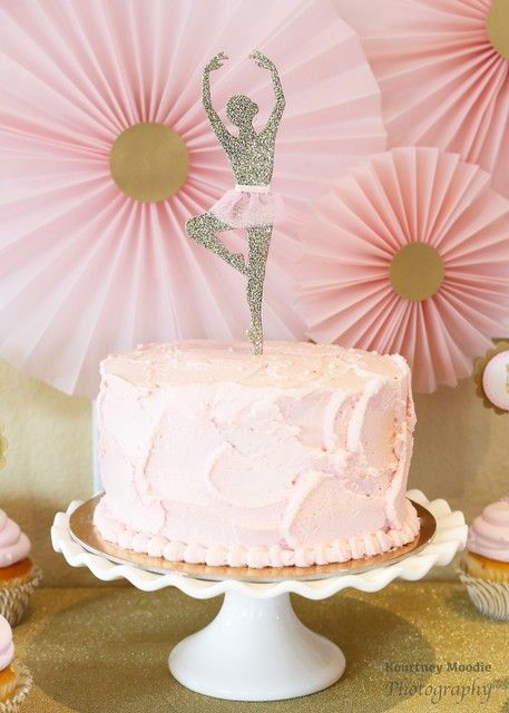 Pink & Gold Ballerina Birthday Party cake! See more party ideas at CatchMyParty.com!