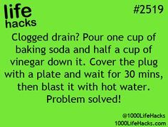 Natural drain unblocker and add 1/2 cup salt ... tested and works!