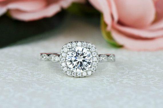 this... 1.25 ctw Halo Ring Wedding Ring Vintage Style by TigerGemstones