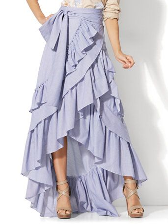 Shop Hi-Lo Ruffle Maxi Skirt. Find your perfect size online at the best price at New York