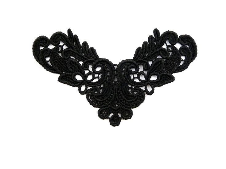 Lot of 3 Black Venice Lace Applique 5x3 Yoke Venetian Rayon Venise Collar Neckline Victorian Gothic. $4.50, via Etsy.