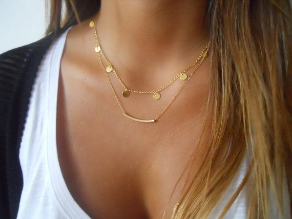 Triple Layered Gold Necklace Set Boho Chic Layered by annikabella