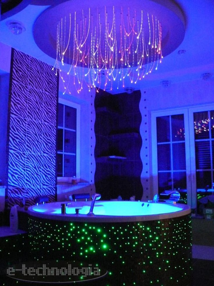 Decorative lighting - the lighting in the hot tub - beautiful lighting in the bathroom - bathroom decor - photos functional bathrooms - fiber optics in the bathroom www.e-technologia.pl