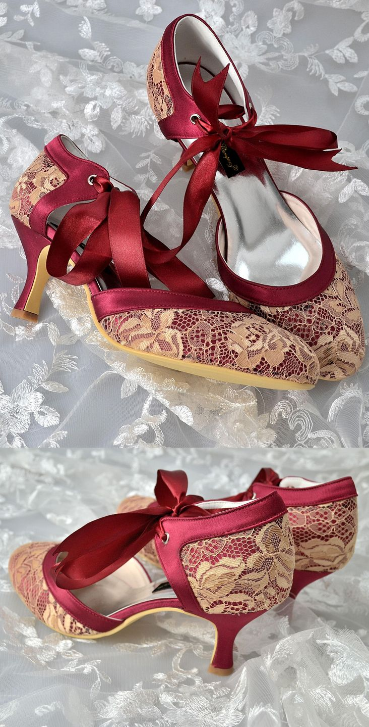 63b25f5c6406 Custom handmade on Etsy vintage gold lace burgundy red satin bow tie front  low heel bridal wedding ankle mary jane dorsay …