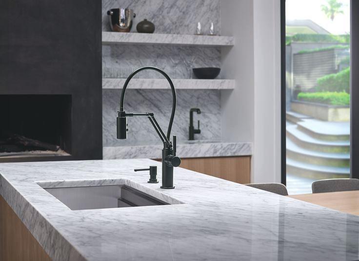 matte black pull down kitchen faucet