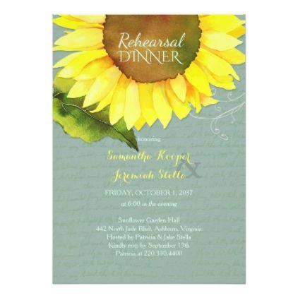 #Grayed Jade Sunflower Wedding Rehearsal Dinner Card - #weddinginvitations #wedding #invitations #party #card #cards #invitation #country