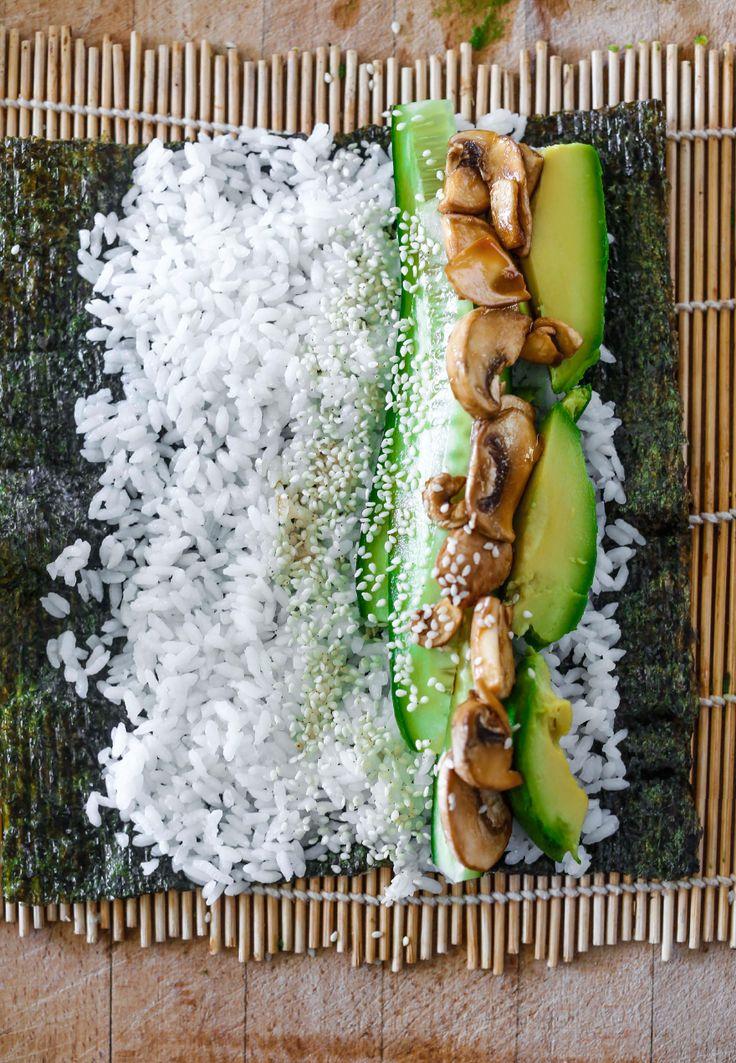 tamari mushroom nori rolls #vegan