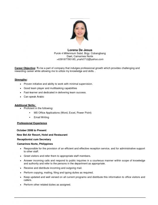 Más de 25 ideas increíbles sobre Objective examples for resume en - receptionist resume objective examples