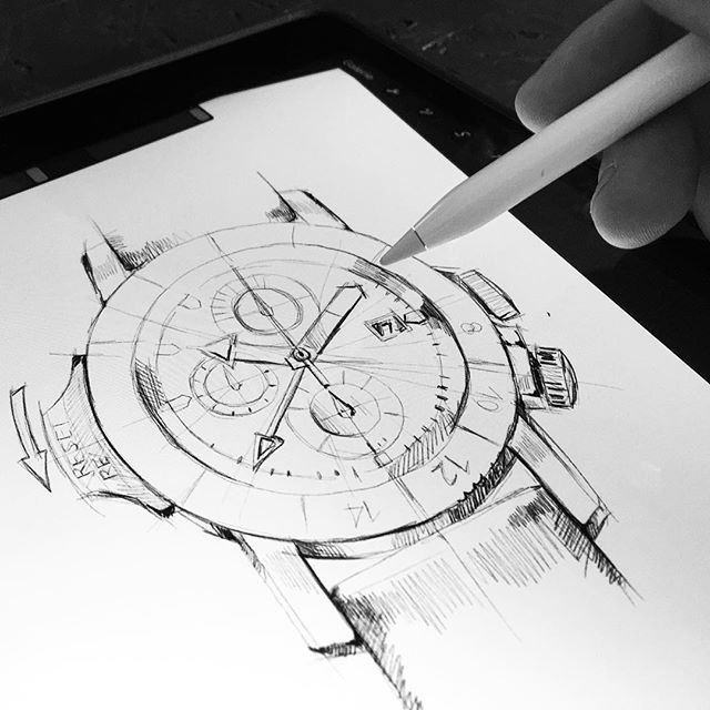 Watch sketch. #drawing #sketch #watch #concept #wristwatch #draw #apple #pencil #ipad #pro #idea #digital #pixel #conception