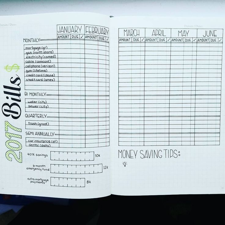 "1,031 Likes, 20 Comments - A Hayden (@craftyenginerd) on Instagram: ""Trying to get some spreads set up for 2017. Here's my idea for a Bills Tracker. Inspired by…"""