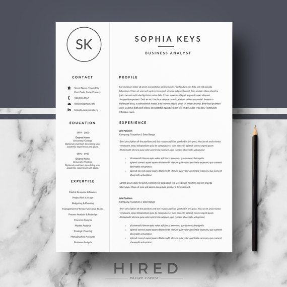 Professional Resume Template   Modern Resume for Word   CV Template + Cover Letter & References + Resume Writing guide   Instant Download
