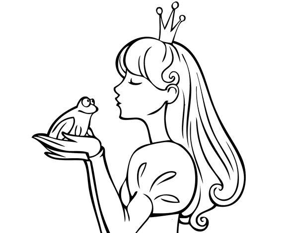 Dibujos De Princesas Para Colorear E Imprimir: Dibujo De La Princesa Y La Rana Para Colorear