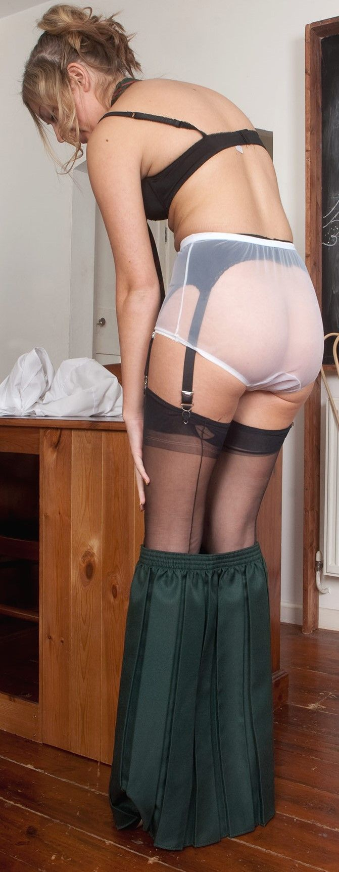 Over and stockings bent girls panties