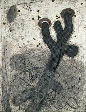 Akiko Taniguchi. Long, Deeply and Far, 2000. Collagraph. Edition of 10. 24-1/42 x 18-1/42 inches