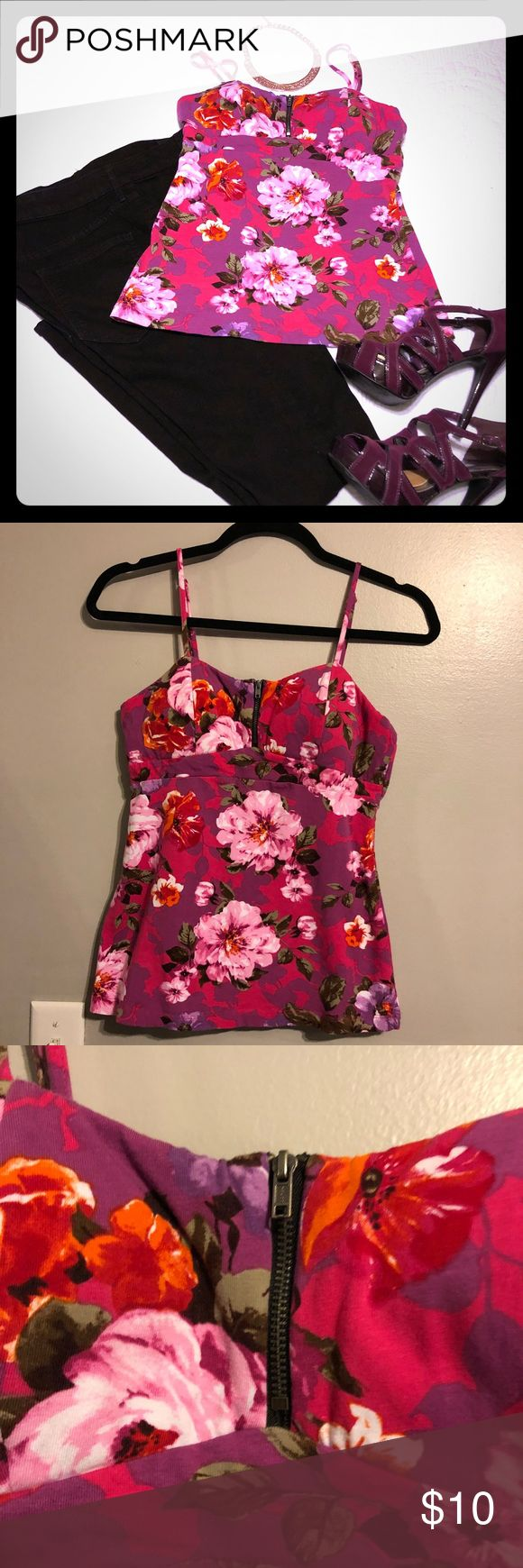 Flower Spaghetti Strap top 🌸 🌺 LIKE NEW. Cute top for the Spring. Hot Pink and Purple with light pink and orange flowers. Zip front and cinched back. 95% Cotton 5% Spandex. Tops Camisoles