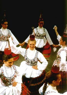 Hungarian folk dance with bottles