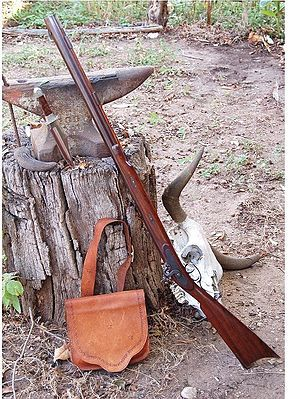 "The Hawken rifle, originally created in Flintlock & later in Percussion, was a black powder muzzleloading rifle built by the Hawken brothers, and used by the Fur Trade Mountain Men on the prairies and in the Rocky Mountains of the United States & at Rendezvous during the 1820's to 1850's. It has become synonymous with the ""plains rifle"", the buffalo gun, and the fur trapper's gun. Developed in the 1820s, it was displaced by breechloaders (such as the Sharps rifle) & lever-action rifles."