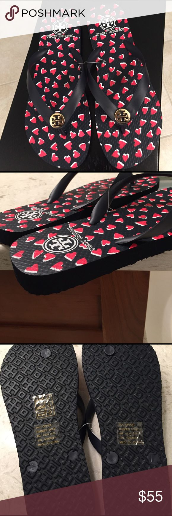 """🆕Tory Burch """"Heart"""" Navy/Red Flip Flops. NWT Sooo cute, these heart ❤️ shaped designed flip flops go great with EVERYTHING and are very comfortable. New, with tag stickers, never worn. Tory Burch Shoes Sandals"""