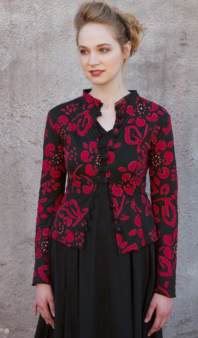Applique Daisy High Neck Jacket, lightweight cotton jersey jacket is hand stitched and sells for 2560.oo