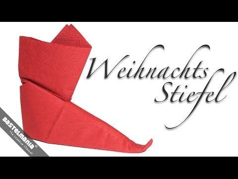 SERVIETTEN FALTEN Anleitung Stiefel Weihnachten DIY NAPKIN FOLDING Instruction Boots - YouTube