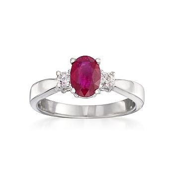 72 ct. t.w. Square Ruby Ring in 14kt Yellow Gold | Three ... - photo #27