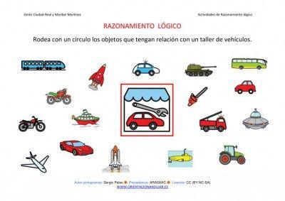 Razonamiento logico. Categorizar taller de vehículos y más