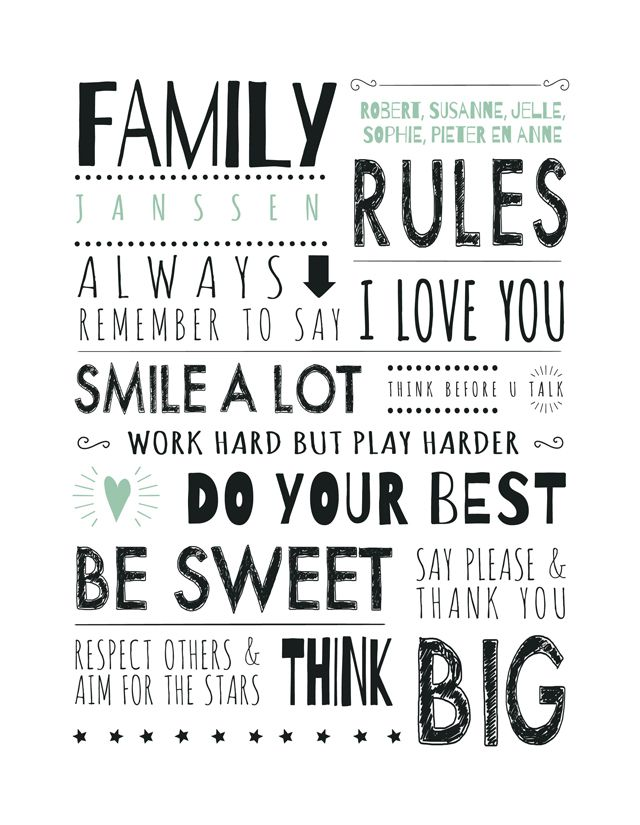 Print Family Rules White from @PrintCandy