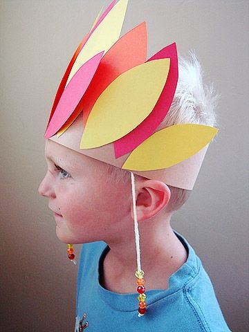 Help your little one make this craft so he can be the chief of your tribe for the day.                 What You'll Need: *  construction paper *  glue *  yarn and beads *  scissors