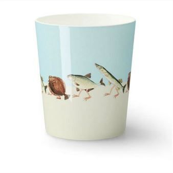 Fish walk mug. Designed by Catharina Kippel for Design House Stockholm. Original illustration by Elsa Beskow.