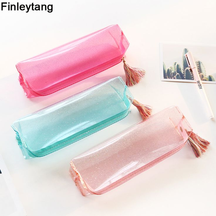Kawaii Transparent Glitter Pencil Case Stationery Bags Creative Fashion Pvc Pencil Bag School Pencil Box Supplies Student Gift #Affiliate