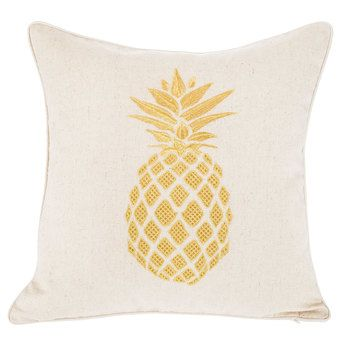 Gold Pineapple Embroidered Pillow Cover