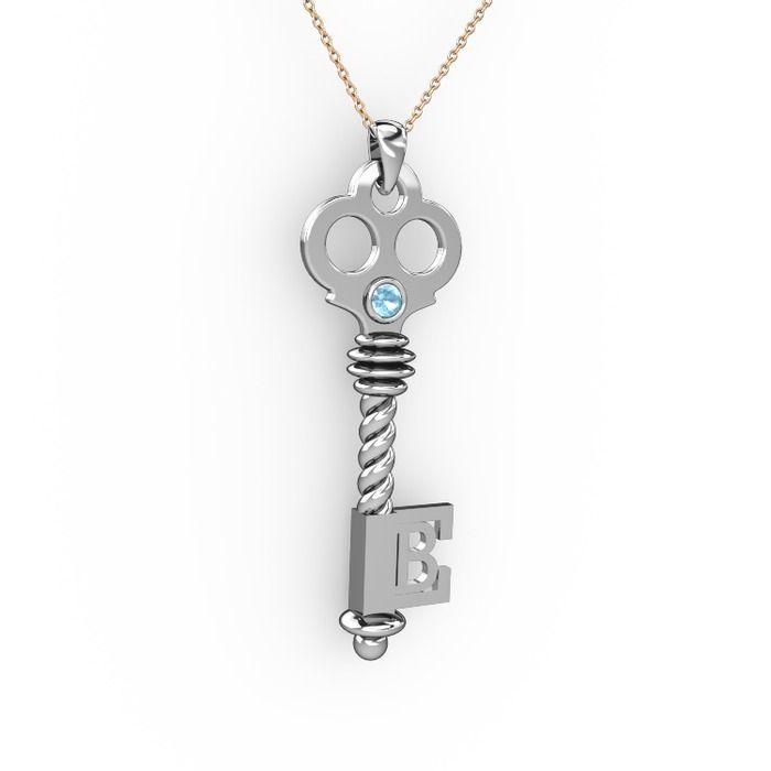 #sevgiliyehediye; akuamarin taşlı anahtar kolye