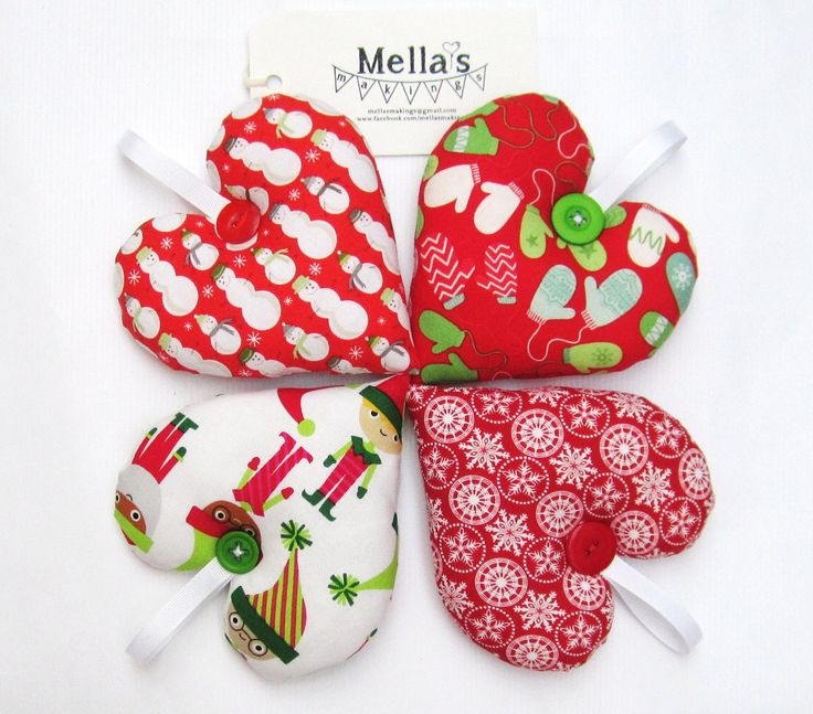 Small Heart Christmas Tree Decorations - £5 each plus £1.50 P&P  Can be PERSONALISED for £5 extra