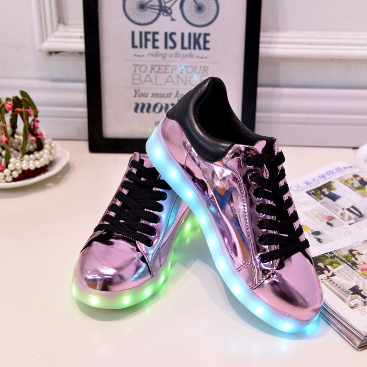 7 Colour Led Light Shoes Women Casual 2016 Spring Luminous Tenis Con Luz Schoenen Met Licht Glowing Light Up Purple Pu Usb Shoe //Price: $US $20.72 & FREE Shipping //     #beauty
