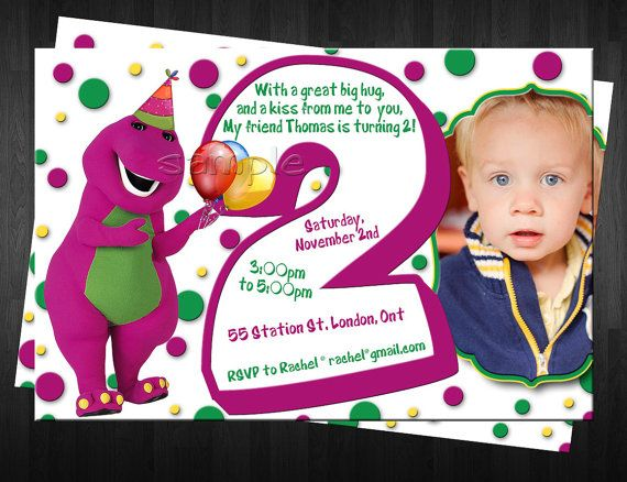 BARNEY Photo Birthday Invitation Custom by FinalTouchesArtwork, $10.00